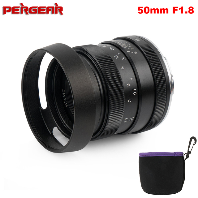 Pergear 50mm F1.8 Large Aperture Manual Focus Prime Fixed Lens for Sony E Mount for Fuji or M4/3 Cameras A6500 A7RII X A2 X T30
