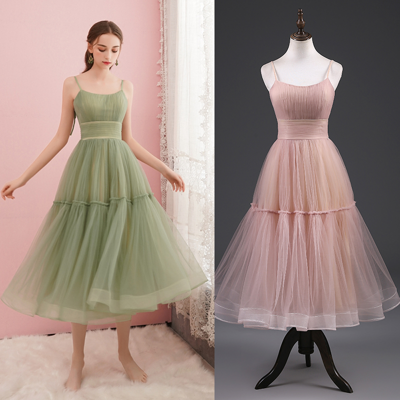 REAL PHOTO Green Party Dress Bridal Bridesmaid Dress Women Plus Size Factory Price Cheap Tulle Simple Dress