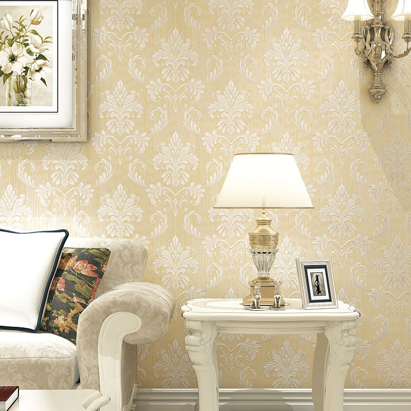 Warm European Style Damascus Non-woven Wallpaper Living Room Bedroom Library Stores Beauty Salon Wallpaper