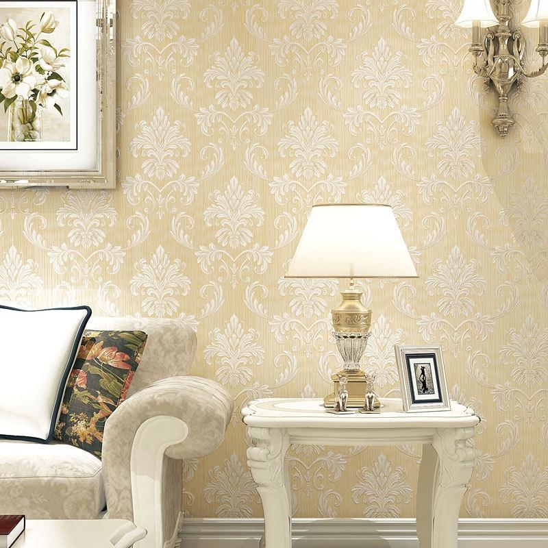 Warm European Style Damascus Non-woven Wallpaper Living Room Bedroom Library Stores Beauty Salon Wallpaper