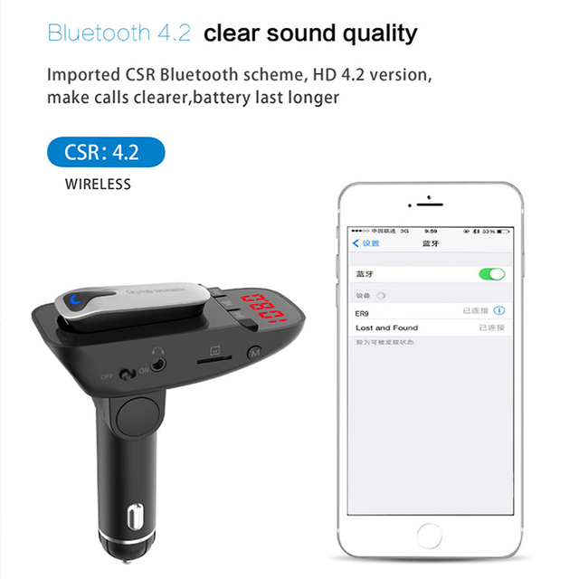 ER9 car Bluetooth kit handsfree FM transmitter wireless Bluetooth headset can detect battery voltage car charger with headphones 2