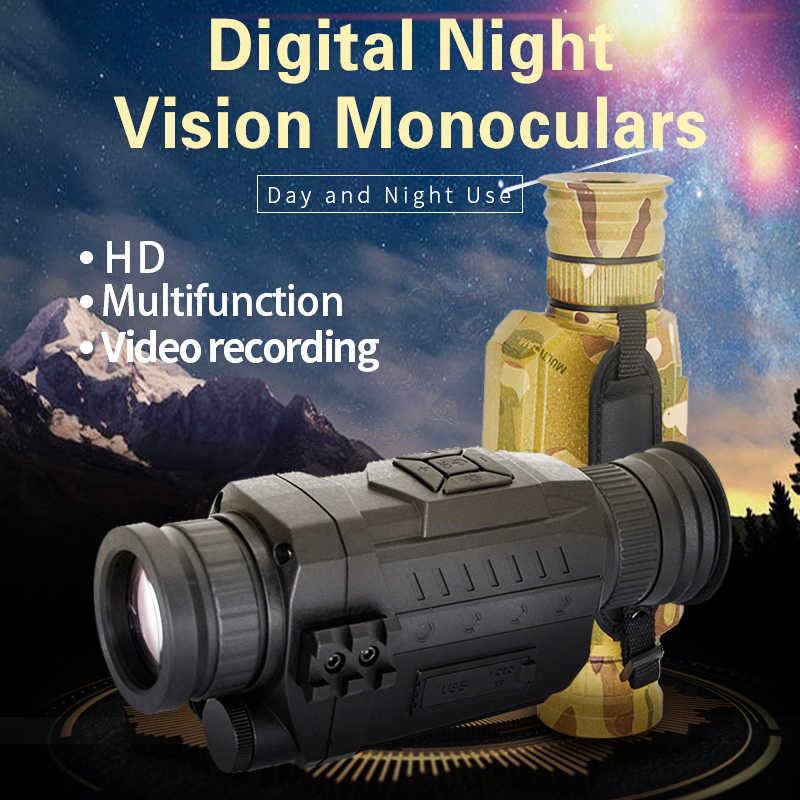 Binoculares telescopio al aire libre visión nocturna 5X infrarrojo cámara de vídeo Digital 200m alcance Monocular alcance para caza