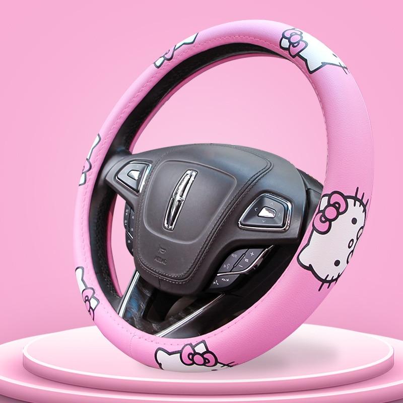 kitty cat capa de volante do carro confortavel anti derrapante cobertura de volante auto kawaii capa