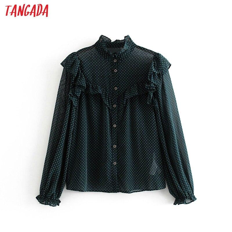 Tangada Women Ruffle Polka Dot Shirts Long Sleeve Ruffle Neck Elegant Office Ladies Blouses Tops 3H328