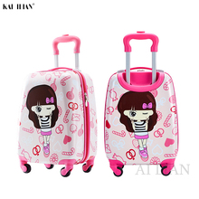 kid's Rolling luggage travel suitcase on wheels children's carry on trolley bag Cute Cartoon suitcase for kid gift 18'' Cabin
