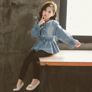 Image 2 - Baby Blouse Spring Fall 2020 Children Jeans Coat Big Girls Clothes School Shirts for Girls Button Down Tops and Blouses 6 8 12Y