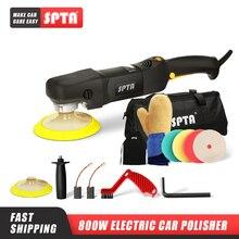 SPTA máquina pulidor giratorio de 5 pulgadas y 800W, pulidor automático para el hogar, bricolaje, con juego de almohadillas de pulido, pulidor de coche de velocidad ajustable