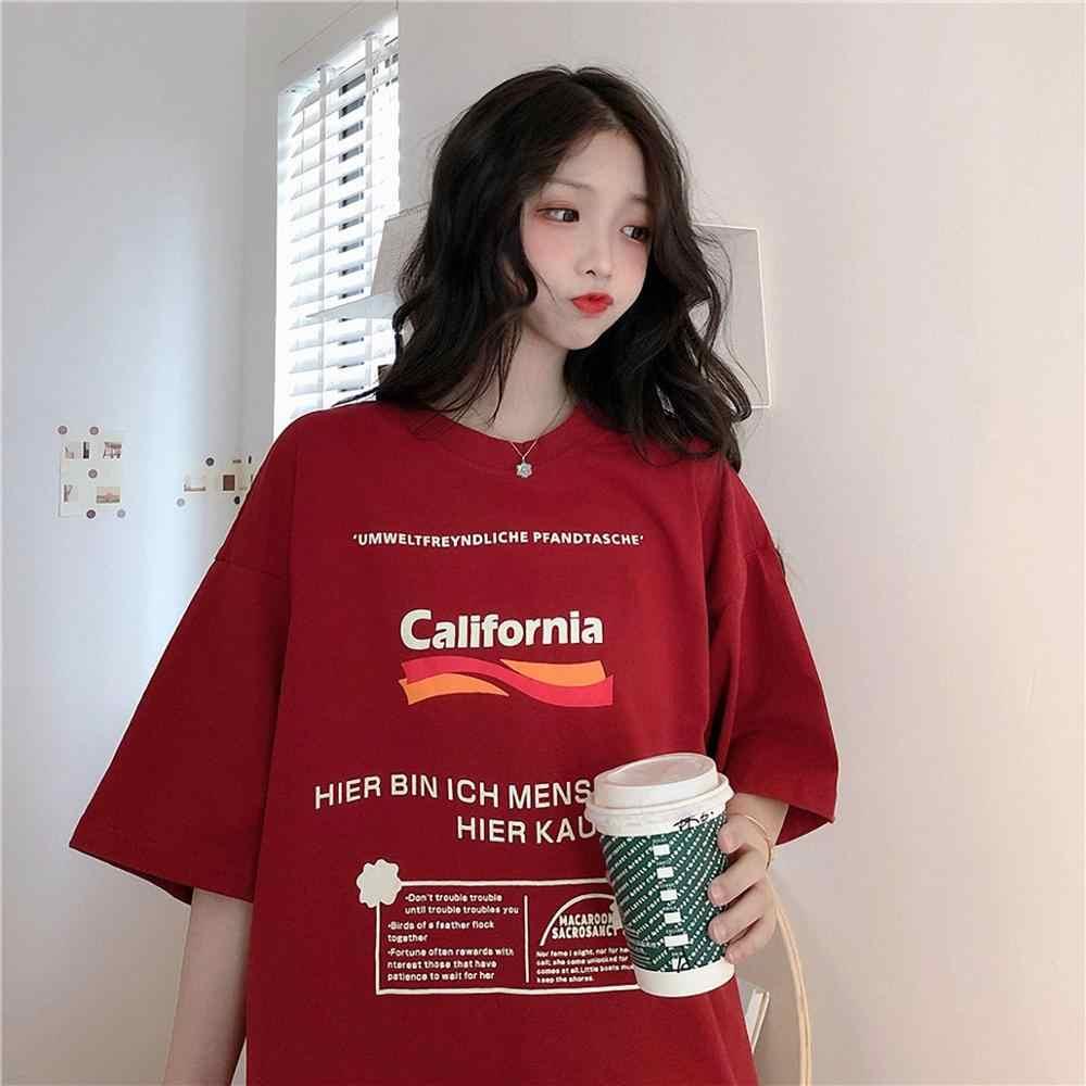 Damska koszulka z okrągłym dekoltem, luźne Cute Cartoon koszulki z krótkim rękawem kobiet modna bawełniana topy graficzne nadruk liter koszula na co dzień dla pani