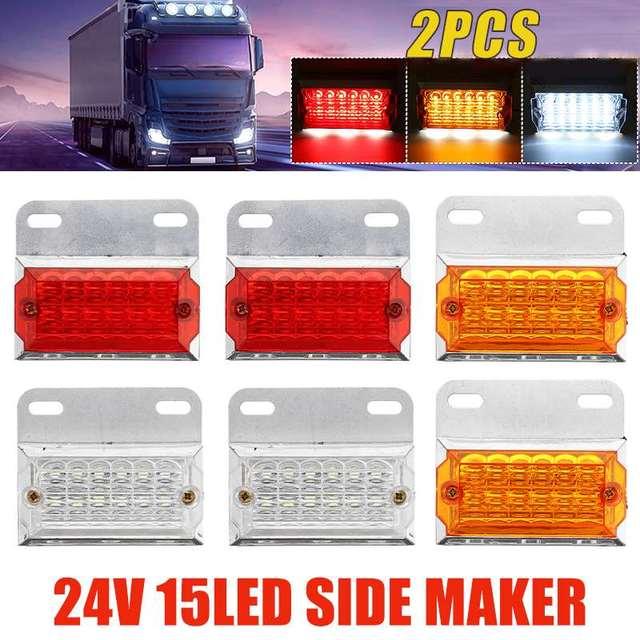 2/4/6/10 sztuk 24V 15 światła obrysowe LED oświetlenie samochodu lampy zewnętrzne Squarde ostrzeżenie tylne lampy kierunkowskazu u nas państwo lampy Auto ciężarówka z przyczepą ciężarówki