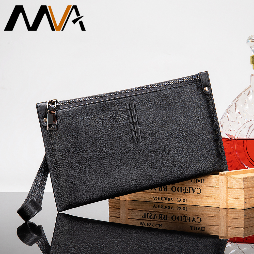 MVA Men Leather Wallet Fashion Money Purse For Men Long Zipper Wallet Phone Wristlet Male Clutch Bags Cards Large Capacity 7426