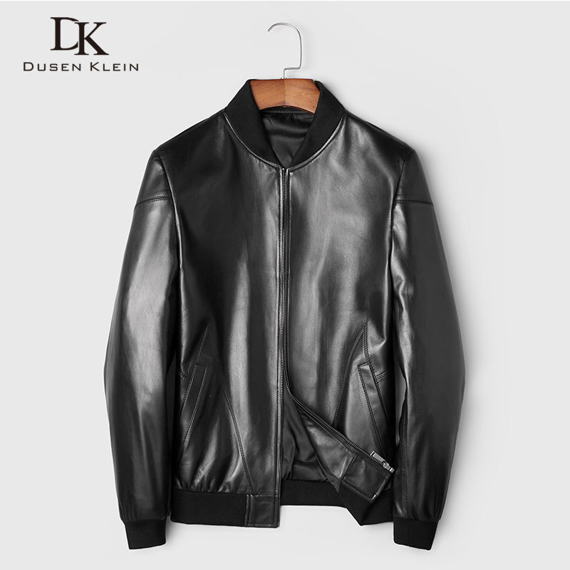 Men Genuine Leather Jacket Real Sheepskin Jackets Casual Short Black Stand Collar Pockets 2020 Autumn New Jacket For Man 89807