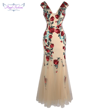 Angel fashions V hals Bloemen Sequin Avondjurk Party Gown Illusion Gown 452