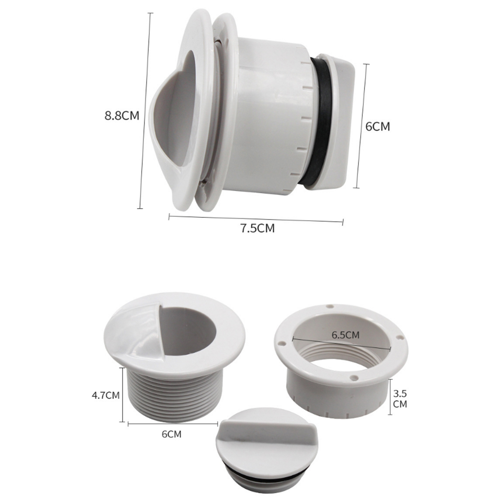 60mm Boat Scupper Valve Outlet Plastic Marine Water Drain Plug & Seal Ring For Yacht Speedboat Etc Boat Accessories Marine