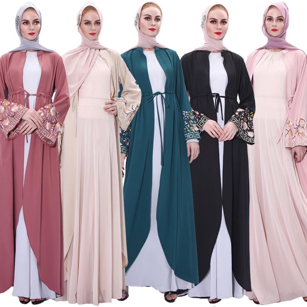 Luxury Muslim Embroidery Abaya Cardigan Dress Kimono Long Robe Gowns Tunic Jubah Katfan Middle East Eid Ramadan Arab Islamic