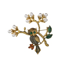 Gariton Vintage Pearl Leaf Owl on the tree Brooch Corsage Scarf Clip Crystal Parrots Brooches Lapel Pin Jewelry for Women
