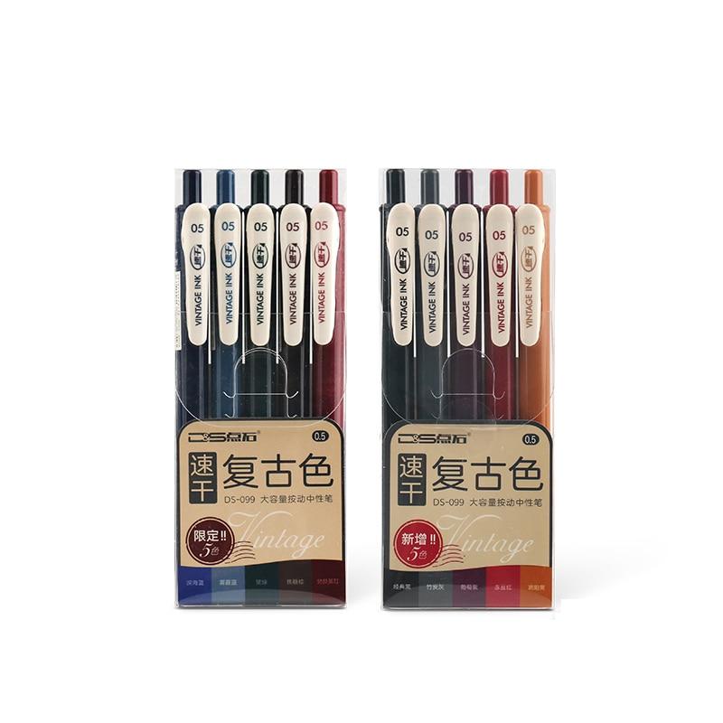 6Pcs/Set 0.5mm Quick Dry Soft Rubber Grip Pen Retro Color Gel Pen Vintage Multicolor Pen For Journal School Office Supply
