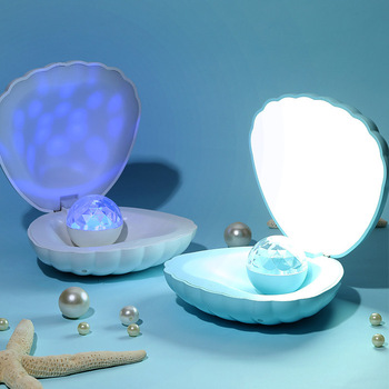 2020 Shell Led Night Light Projector USB Rechargeable Table Lamp Atmosphere Lighting for Children Baby Kids Gift Bedside Bedroom