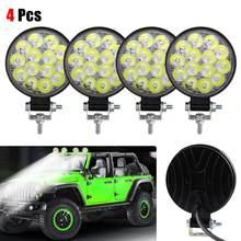 4 sztuk 42W Led światło halogenowe dla samochodów ciężarowych okrągły 14LEDs lampa robocza żarówka lampa do jazdy wodoodporna ATV Offroad światła robocze 24/24V