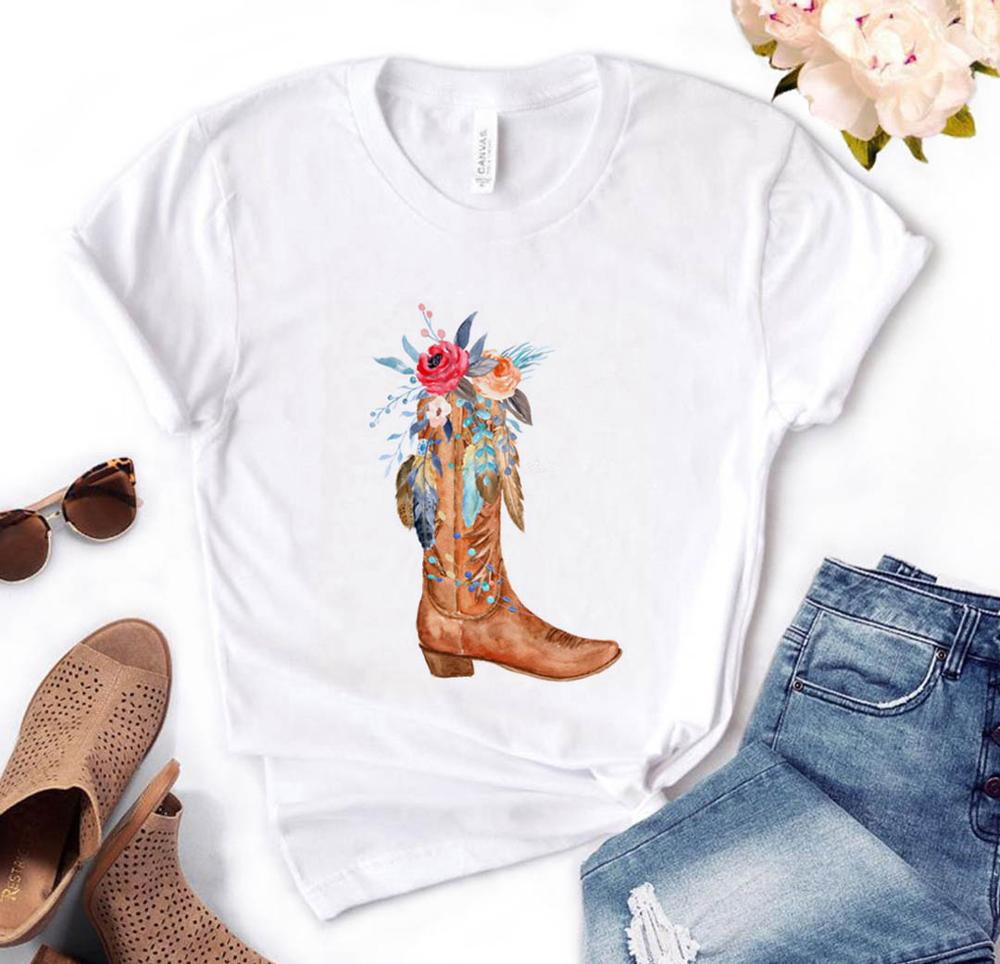 Cowgirl Boots Flowers Print Women Tshirt Cotton Casual Funny T Shirt Gift For Lady Yong Girl Top Tee PM-68
