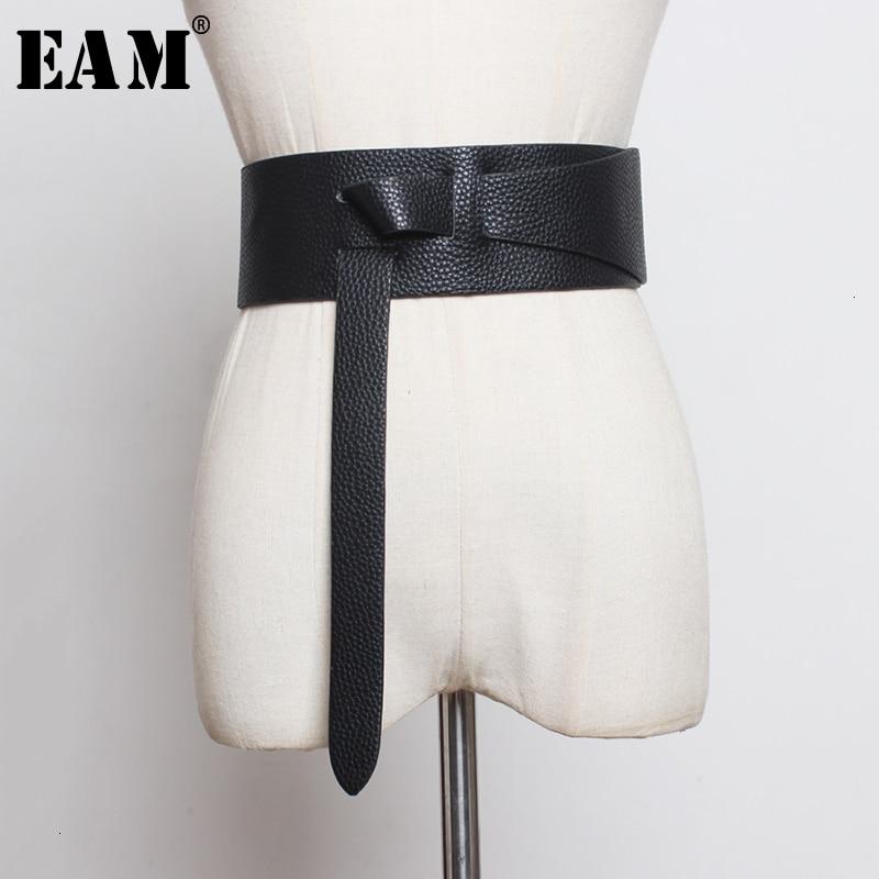 [EAM]  Pu Leather Asymmetrical Split Long Belt Personality Women New Fashion Tide All-match Spring Autumn 2020 19A-a298