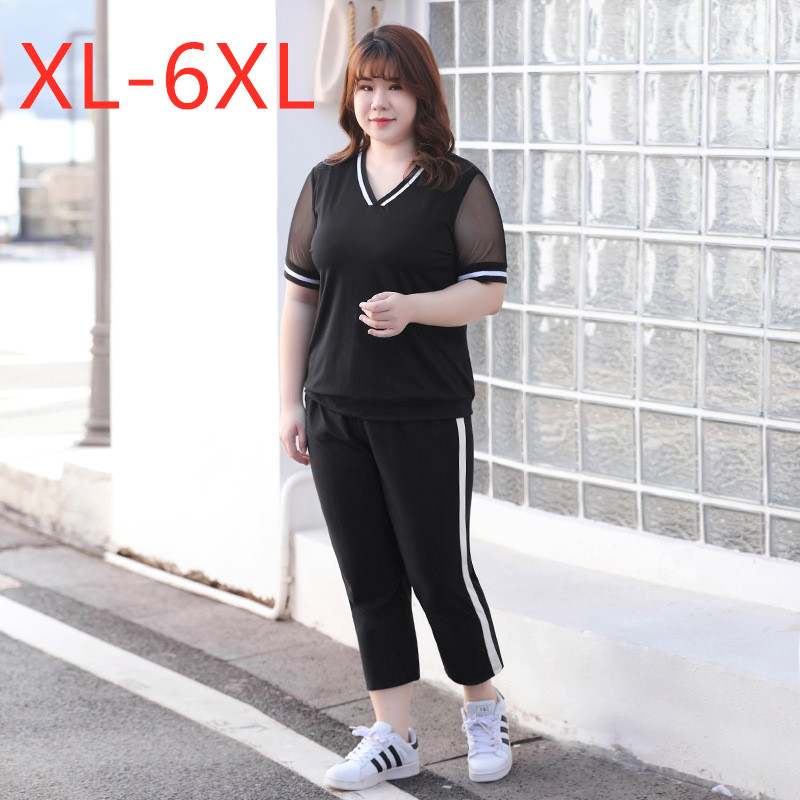 New summer plus size sports suits for women short sleeve loose black T-shirt and capri pants training suit sets 3XL 4XL 5XL 6XL