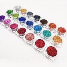 21Pcs/set 0,2mm Holographische Nail art Glitter Pulver Nagel Zucker Pailletten Feine Glitter UV Gel Polish Acryl tipps DIY Dekorationen