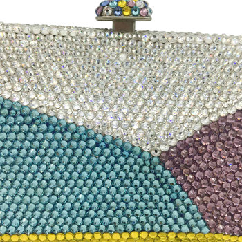 Multicolored Geometric Pattern Crystal Evening Clutch  3