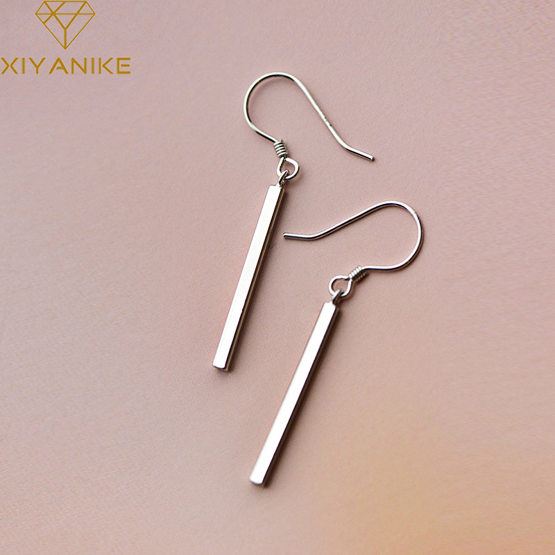XIYANIKE 925 Sterling Silver Fashion Simple Long Drop Earring Prevent Allergy For Women Creative Geometric Wedding Party Jewelry