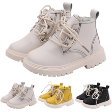 цена на Winter Baby Girl Boots Warm PU Leather Children Boots Fashion Cross Tied Ankle Boots Low Heeled Round Toe Baby Girl Botas D25