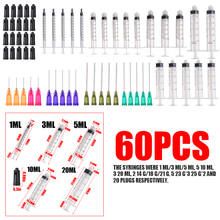 60Pcs/set 1/3/5/10/20ml Plastic Syringes With Blunt Tip Needles & Caps Industrial Use For Refilling And Measuring E-liquids стоимость