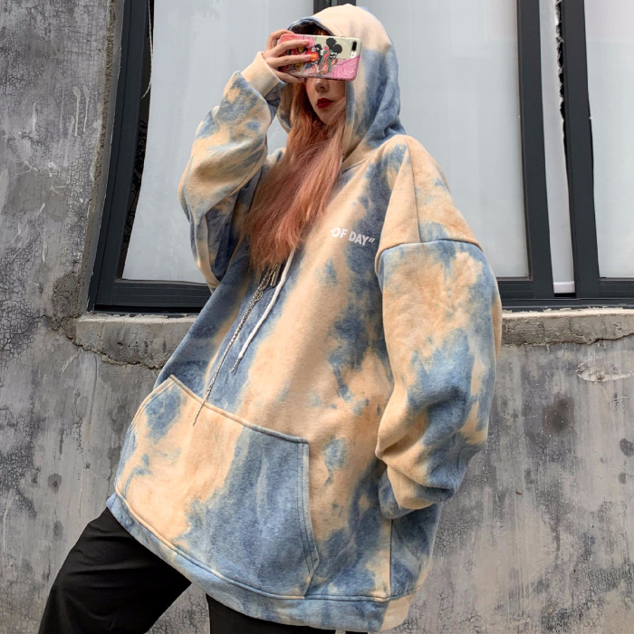 Autumn And Winter 2019 New Style Tie-dye Hoodie Women's Fashion INS Brushed And Thick Hooded Oversize Loose Korean-style BF Styl