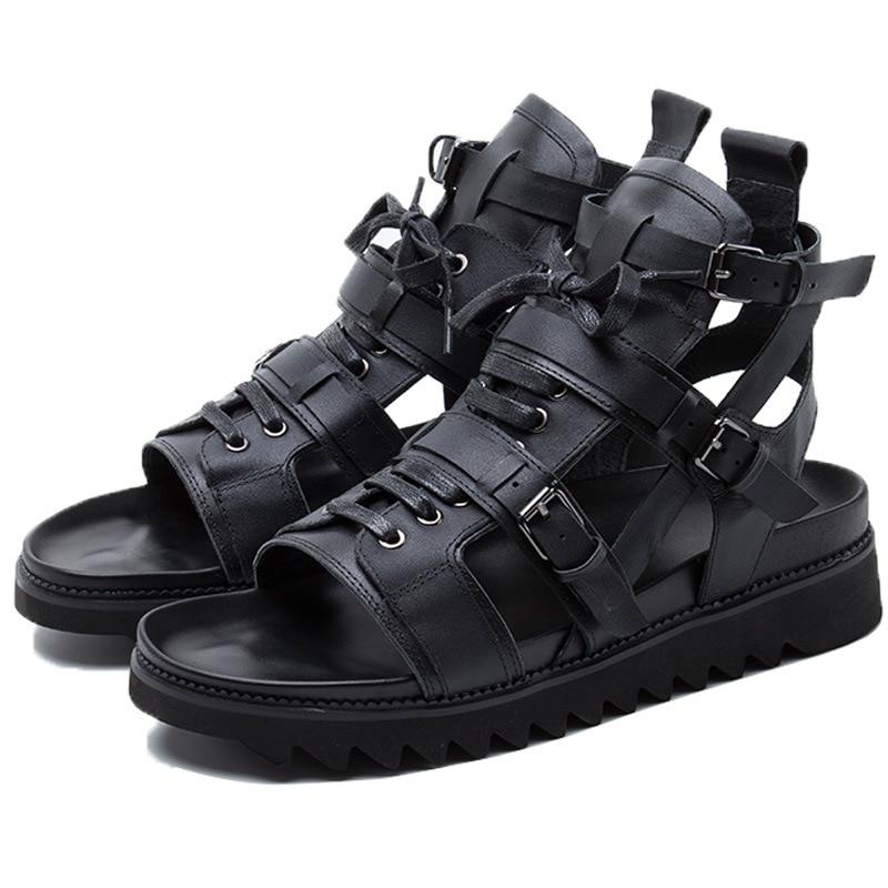 Men Japan Street Genuine Leather Straps Roman Sandals Shoes Male Punk Gothic Casual Leather Sandals Beach Shoes