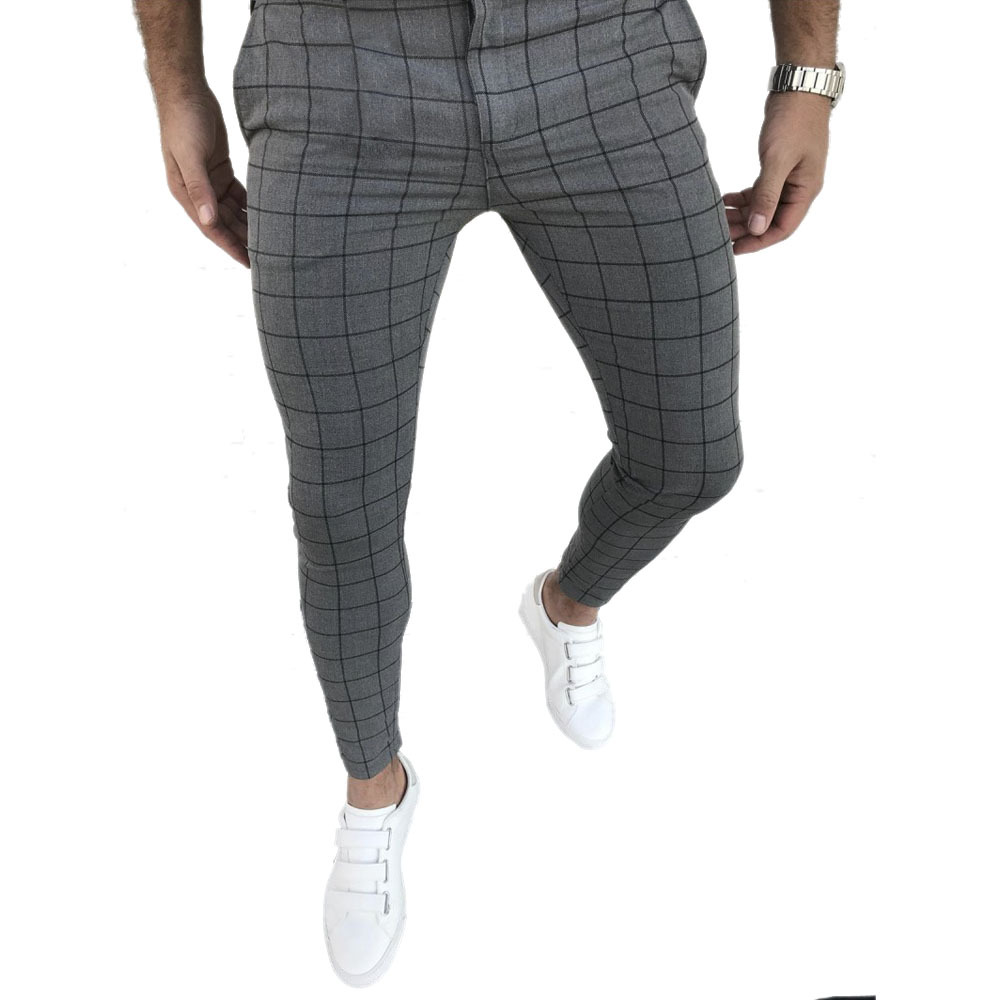 Men's Fashion Plaid Pants Slim Fit Straight Leg Trousers Casual Joggers Hip Hop Sweatpants Streetwear Male Pencil Winter Clothes