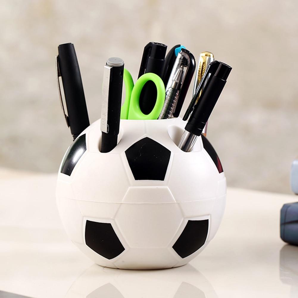 Newst Soccer Shape Supplies Pen Pencil Holder Football Shape Toothbrush Holder Desktop Rack Table Home Decoration Student Gifts