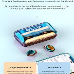 Image 4 - Oringinal F9 słuchawki Bluetooth 5.0 TWS zestaw słuchawkowy z czytnikiem linii papilarnych radio HiFI słuchawki douszne wodoodporne słuchawki bezprzewodowe