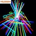 100 шт. вечерние Флуоресцентный светильник светящиеся палочки Браслеты ожерелья неоновая вывеска для Свадебная Вечеринка вечерние светящие...