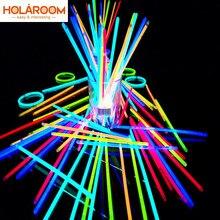 Bastões de luz colorida fluorescente para festa, 50 ou 100 unidades, varas brilhantes, pulseiras, colares de néon para comemoração de casamento