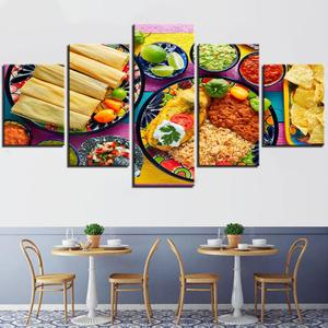 5 Pieces Food Painting Tacos&Rice Mexican Food Spicy Sauce Posters For Restaurant And Home Kitchen Wall Art Decor Canvas HDPrint