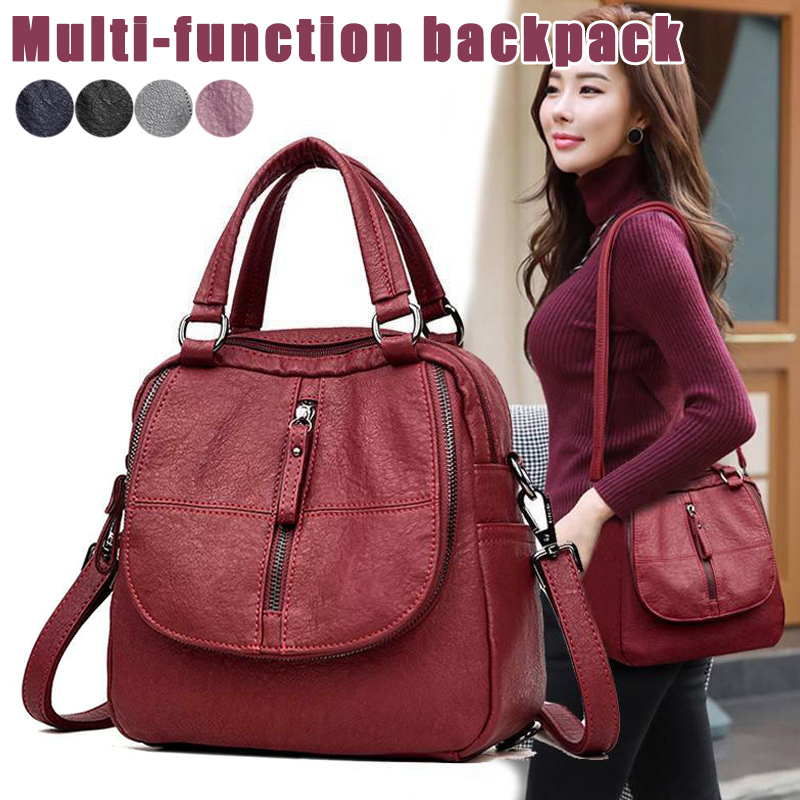 Hot 2019 Classic Women's Shoulder Bag PU Leather Multipurpose Backpacks Simple Zipper Travel Backpack Solid Color Female Bags