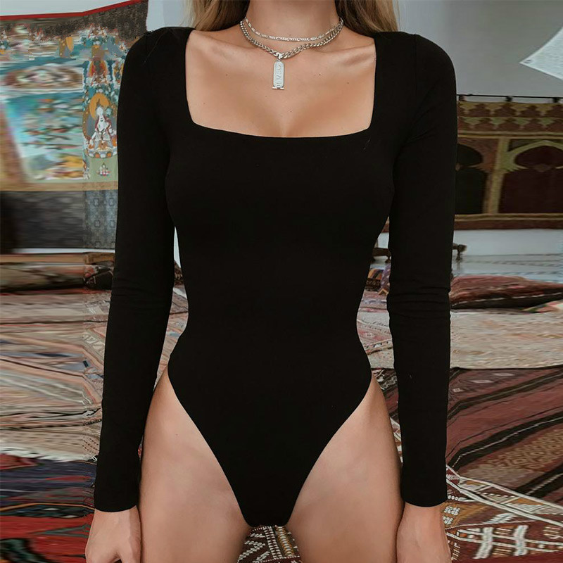 Sexy Bodycon Bodysuit Long Sleeve Square Neck Sheath Open Crotch Basic White Black Red Overalls Women Body Top