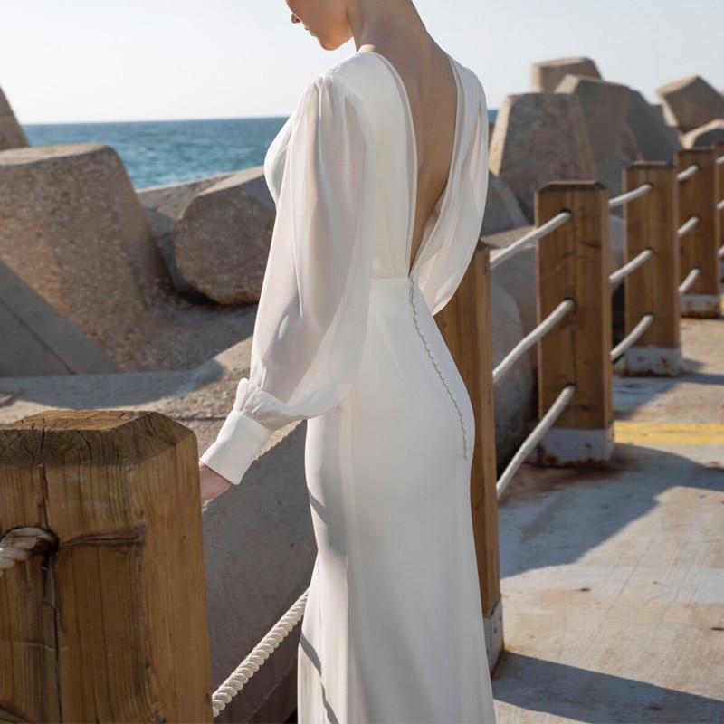 Длинные рукава зимние вечерние платья бодикон белые женские платья с открытой спиной Pacakge бедра платье русалка подол Сплит v образным вырез... - 5