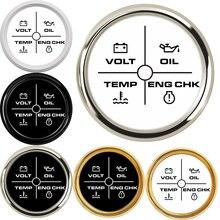 4 LED di Allarme Indicatore di Interruttore 4 In 1 52 MILLIMETRI Gauge Meter Volt/Olio/Temperatura Dellacqua/Controllare motore Indicatore 2 Pollici di Allarme Calibro per i Commerci Allingrosso