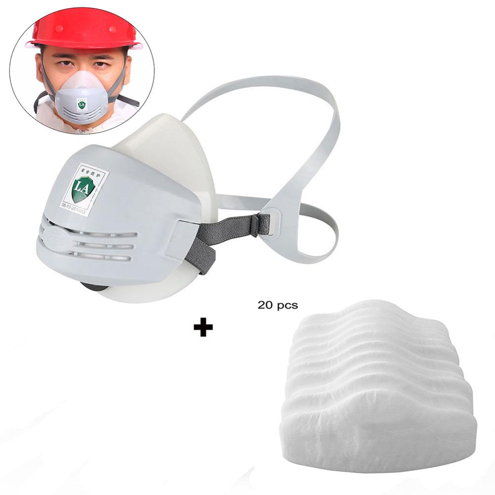 Mask With 20pcs 3701CN Filter Cotton For 3200 Gas Mask Supporting Dust Filter Anti Industrial Construction Dust Pollen Haze