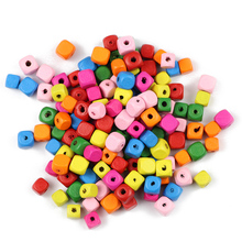 YHBZRET 100pcs 8/10mm Square Wood Beads Mixed Color Spacer Loose Bead Jewelry for Making Wooden Beadding Bracelet DIY Findings