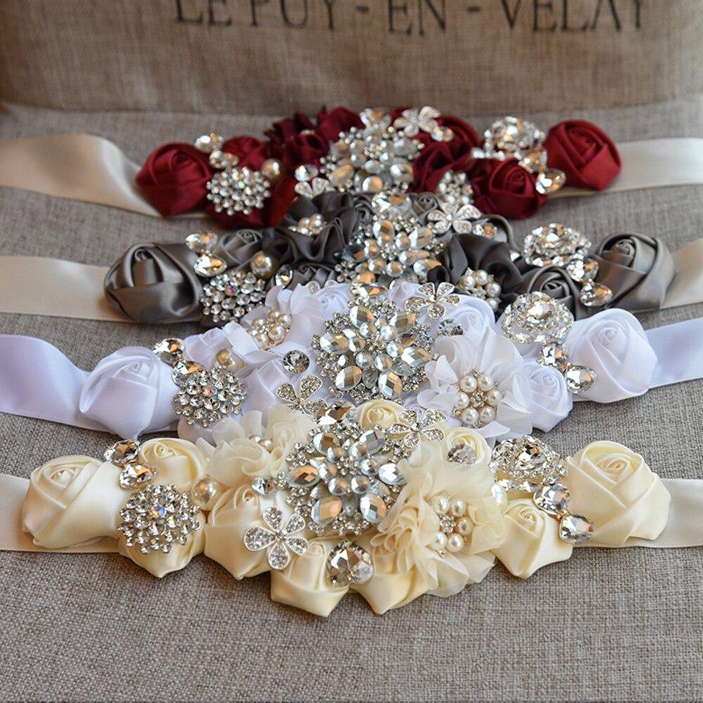 Wedding Belt Sash Polyester Floral Women Dress Belts Wedding Bridal Flower Girl Sash Satin Ribbon Flower Belt Fashion YYY8079