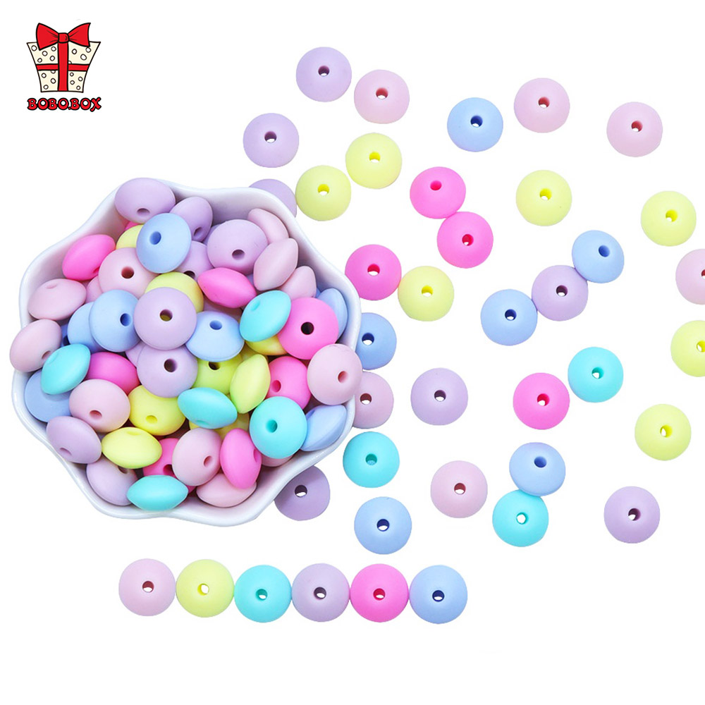 BOBO.BOX Lentil Silicone Teether 12mm 50pcs Silicone Beads DIY Bead Teething Nursing Necklace Food Grade Silicone Abacus Beads