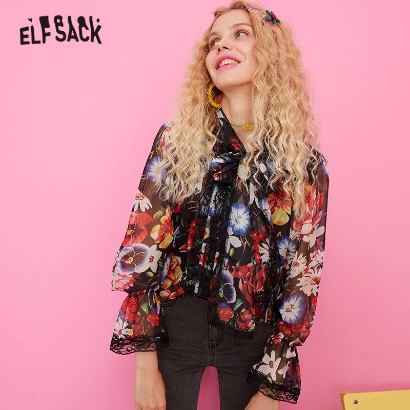 ELFSACK imprimé fleuri contraste dentelle Boho mousseline de soie Blouse chemise femmes vêtements 2019 automne vacances à manches longues dames Blouses