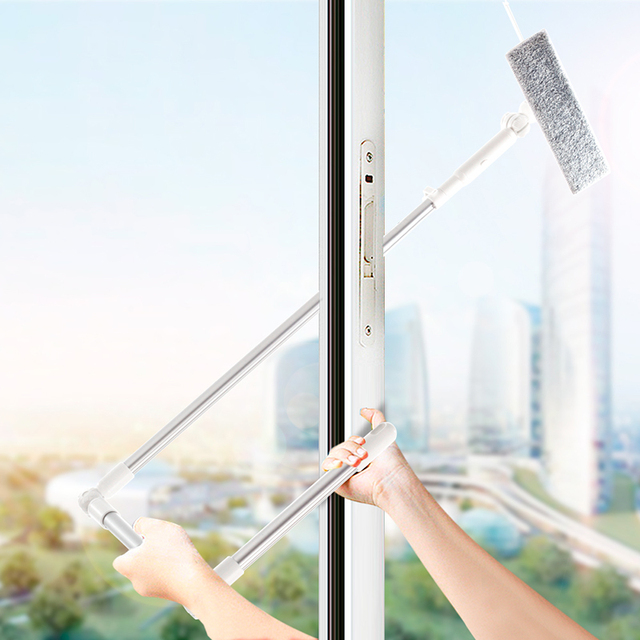 מנקה חלון זכוכית ניקוי מברשת כלי עם 180 מגב ראש הארכת מוט מיקרופייבר בד עבור מקורה וחיצוני Windows