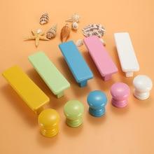 Furniture Pulls Cabinet-Knobs Cupboard-Handle Wardrobe Wooden Children Macaron