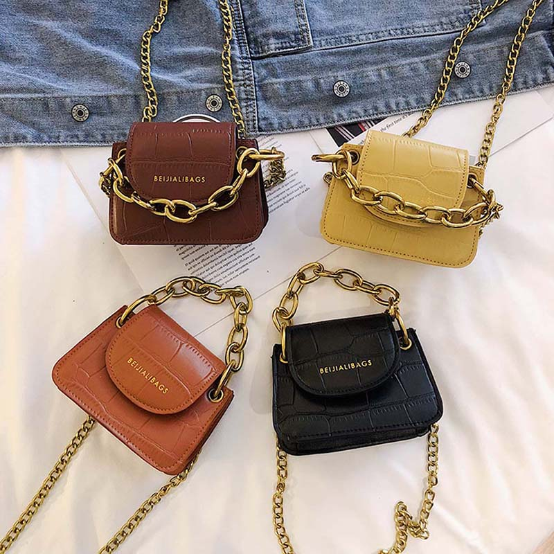 Women Fashion Handbags Hot Simple Concise All-match Shoulder Bag Mini Croc Letter Print Crossbody Bag